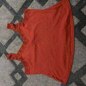 Burnt orange tank lace trim